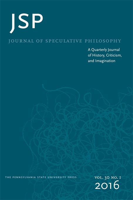 Cover image for Journal of Speculative Philosophy