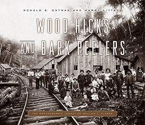 Cover image for Wood Hicks and Bark Peelers: A Visual History of Pennsylvania's Railroad Lumbering Communities; The Photographic Legacy of William T. Clarke By Ronald E. Ostman, Harry Littell, and with an Introduction byLinda A. Ries