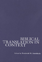 Cover for Biblical Translation in Context