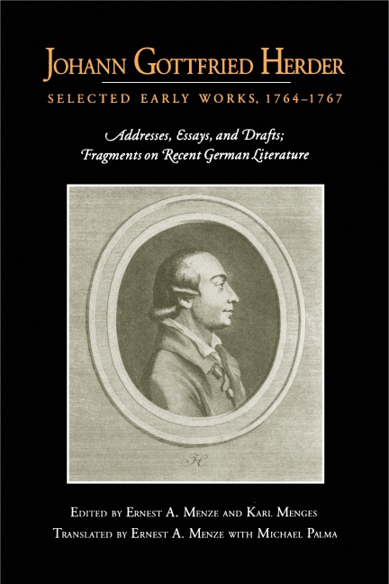 Johann Gottfried Herder works of johann gottfried herder