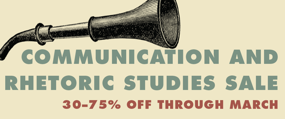 Banner with text Communication and rhetoric studies sale