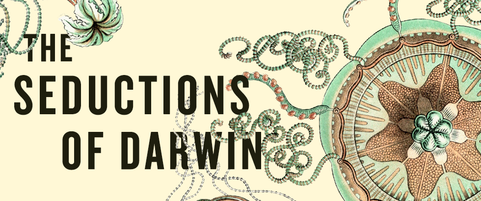 Banner promoting the book The Seductions of Darwin
